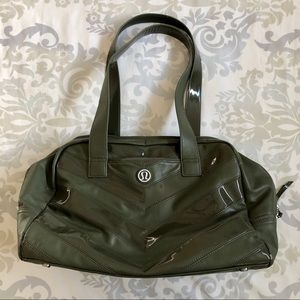 Lululemon Olive Patent Leather Shoulder Gym Bag